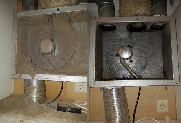 Ventilationstrumma/fläkthus innan och efter rengöring